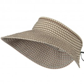 UPF 50+ Woman's Rolled Checkered Wide Brim Visor - Beige