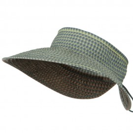 UPF 50+ Woman's Rolled Checkered Wide Brim Visor - Blue