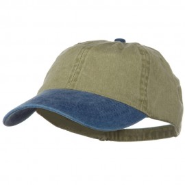 Washed Two Tone Pigment Dyed Cotton Twill Brass Buckle Cap - Navy Khaki