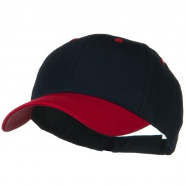 Two Tone Cotton Twill Low Profile Strap Cap - Red Navy