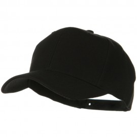Solid Wool Blend Prostyle Snapback Cap - Black