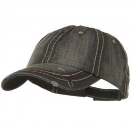 Low Profile Heavy Wash New Herringbone Distressed Cap - Black
