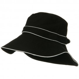 Canvas with Piping Wide Brim Hat - Black