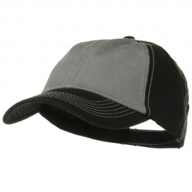 Two Tone Garment Cotton Twill Cap - Black Grey Black