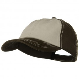 Two Tone Garment Cotton Twill Cap - Brown Khaki Brown