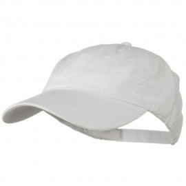 Washed Solid Pigment Dyed Cotton Twill Brass Buckle Cap - White