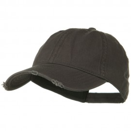 Superior Garment Washed Cotton Twill Frayed Visor Cap - Charcoal Grey