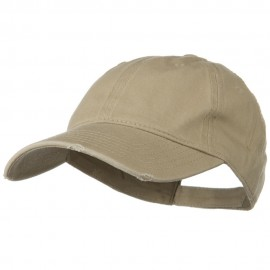 Superior Garment Washed Cotton Twill Frayed Visor Cap - Khaki