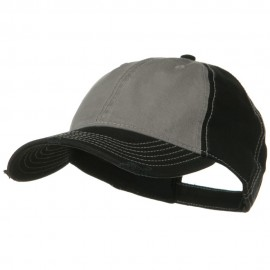 Superior Garment Washed Cotton Twill Frayed Visor Cap - Black Grey Black