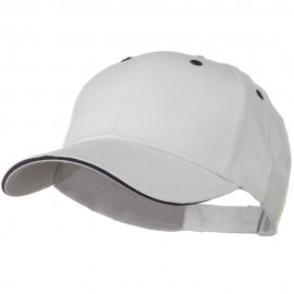 Solid Brushed Twill Sandwich Visor Cap - White Navy