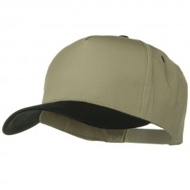 Cotton Twill Two Tone 5 Panel Prostyle Snap Cap - Black Khaki