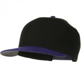 Wool Blend Flat Visor Pro Style Snapback Cap - Purple Black