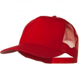 Solid Cotton Twill 5 panel Mesh Back Cap - Red
