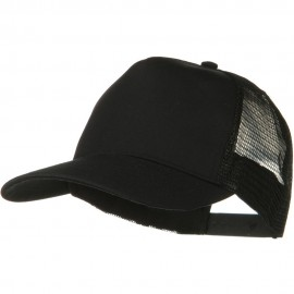 Solid Cotton Twill 5 panel Mesh Back Cap - Black