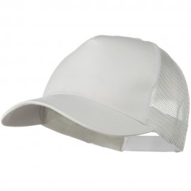 Solid Cotton Twill 5 panel Mesh Back Cap - White