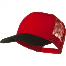 Two Tone Cotton Twill 5 panel Mesh Back Cap - Black Red