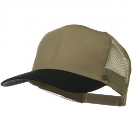 Two Tone Cotton Twill Mesh Prostyle Cap - Dark Green Khaki