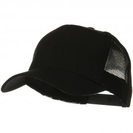 Solid Cotton Twill Mesh Prostyle Cap - Black