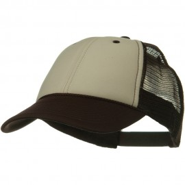 Two Tone Polyester Foam Front Mesh Back Cap - Brown Tan Brown