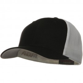 Flexfit Mesh Cotton Twill Trucker 2 Tone Cap - Black White