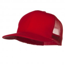 Flat Bill Snap Back Mesh Cap - Red