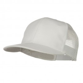 Flat Bill Snap Back Mesh Cap - White