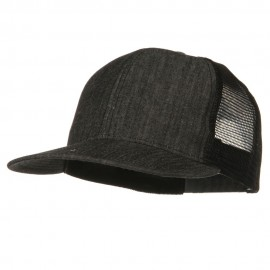 Flat Bill Snap Back Mesh Cap - Denim Black