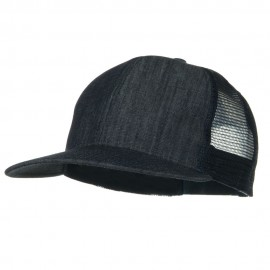 Flat Bill Snap Back Mesh Cap - Denim Navy