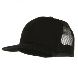 Flat Bill Snap Back Mesh Cap - Black