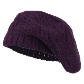 Acrylic Cable Knit Beret - Purple