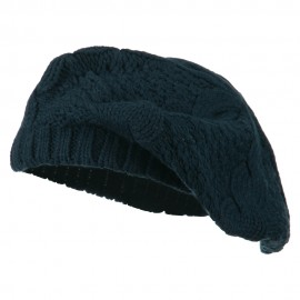 Acrylic Cable Knit Beret - Navy
