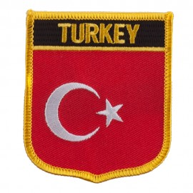 Europe Flag Embroidered Patch Shield - Turkey