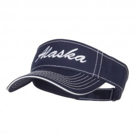 Alaska State Embroidered Contrast Stitch Visor - Navy