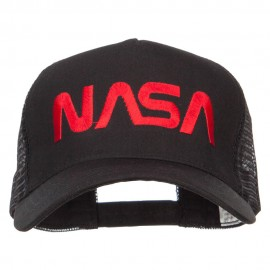 NASA Letter Embroidered Big Size Trucker Cap - Black