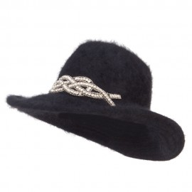 Angora Cowboy Hat with Decoration - Black