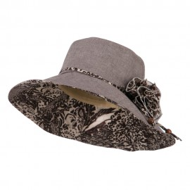 Woman's Polyester Flower Accent Bucket Hat