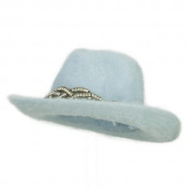 Angora Cowboy Hat with Decoration - Lt Blue
