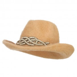Angora Cowboy Hat with Decoration - Tan