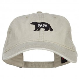 Papa Bear Embroidered Washed Cap - Stone