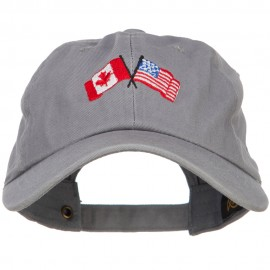 Canada US Flags Embroidered Unconstructed Cap