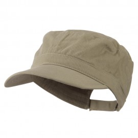 Adjustable Cotton Military Cap - Khaki