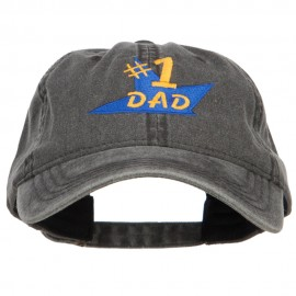 Number 1 Dad Star Embroidered Washed Cap