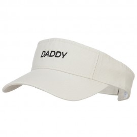 Daddy Embroidered Pro Style Cotton Washed Visor - Stone