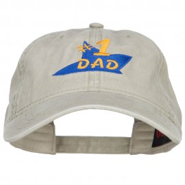 Number 1 Dad Star Embroidered Washed Cap - Stone