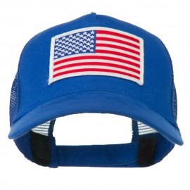 American Flag Patched 5 Panel Mesh Back Cap - Royal