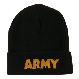 Army Embroidered Long Knitted Beanie - Black
