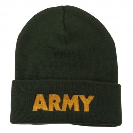 Army Embroidered Long Knitted Beanie