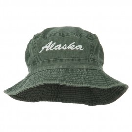 Alaska Embroidered Pigment Dyed Bucket Hat - Green