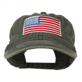 American Flag Embroidered Washed Cap - Black