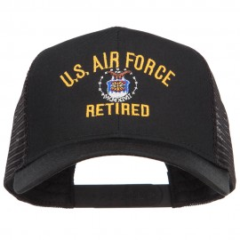 US Air Force Retired Military Embroidered Mesh Cap - Black